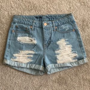Mossimo High Rise Denim Distressed Short Shorts